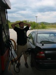 Josh refueling the Honda...Tennessee